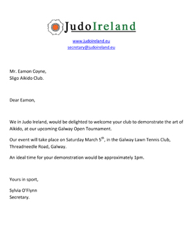 Judo Sligo Aikido Invite